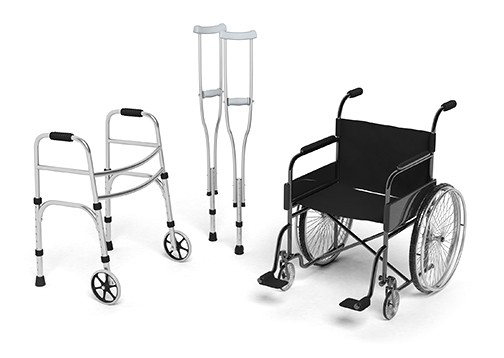 Black disability wheelchair, crutch and metallic walker isolated